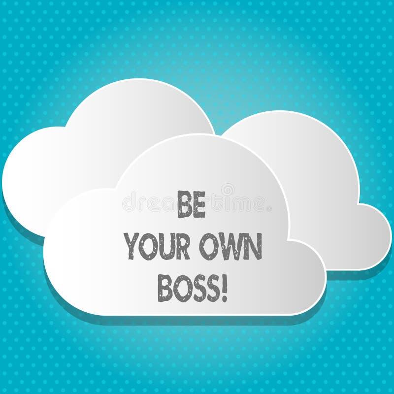 Текст почерка ваш собственный босс Компания начала смысла концепции работая не по найму запуск предпринимателя работы инвестирует иллюстрация вектора