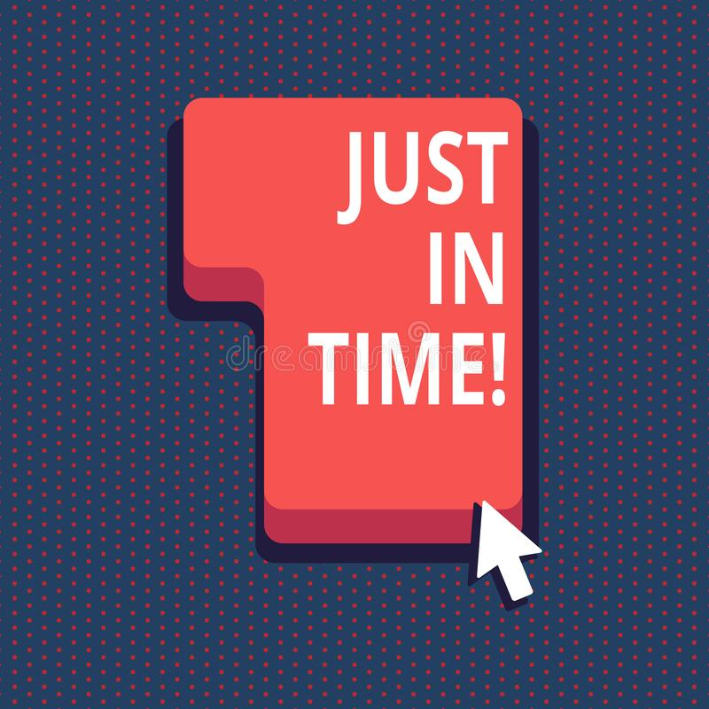Текст почерка как раз вовремя Смысл концепции приезжая точно на ответственность пунктуальности часа необходимую иллюстрация вектора