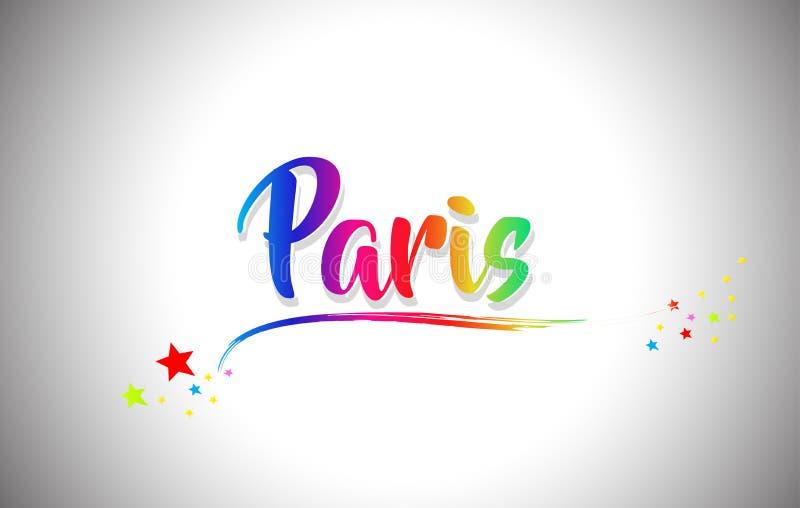 Текст слова Парижа рукописный с цветами радуги и живым Swoosh иллюстрация штока