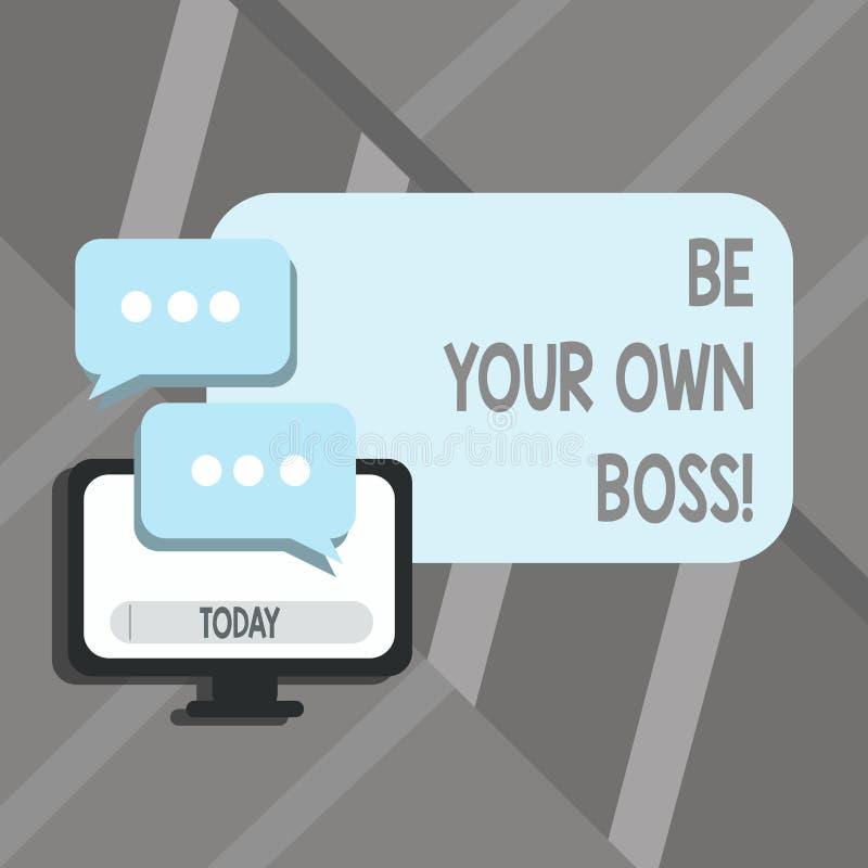 Текст сочинительства слова ваш собственный босс Концепция дела для компании начала работая не по найму запуск предпринимателя раб иллюстрация штока