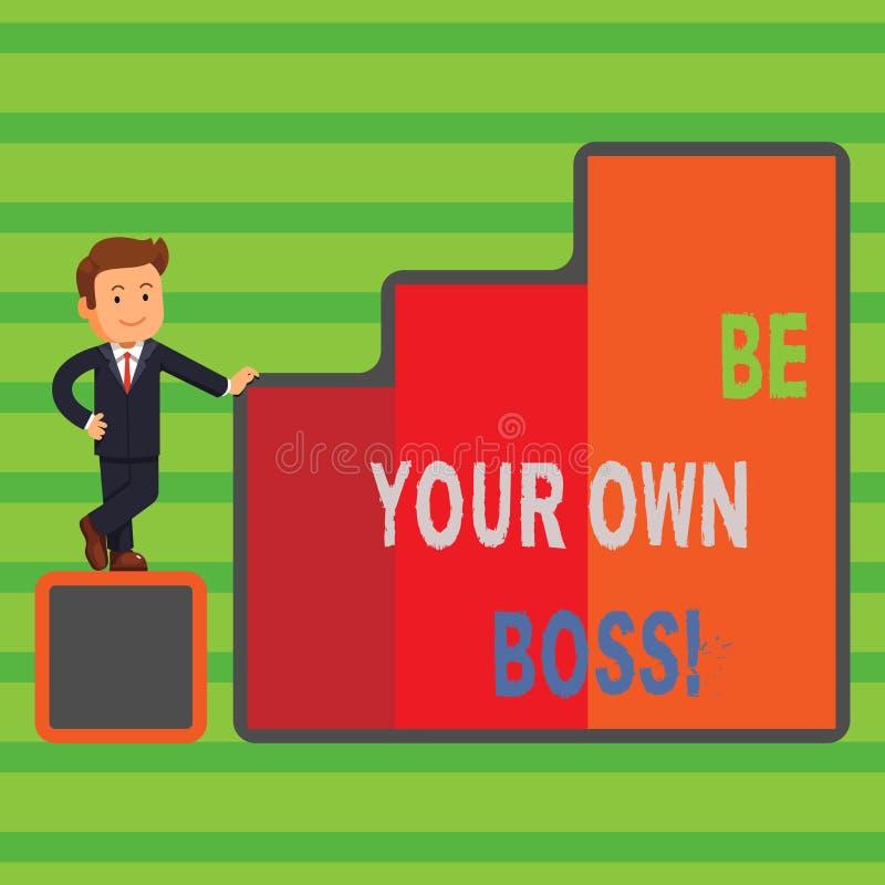 Текст сочинительства слова ваш собственный босс Концепция дела для компании начала работая не по найму запуск предпринимателя раб бесплатная иллюстрация