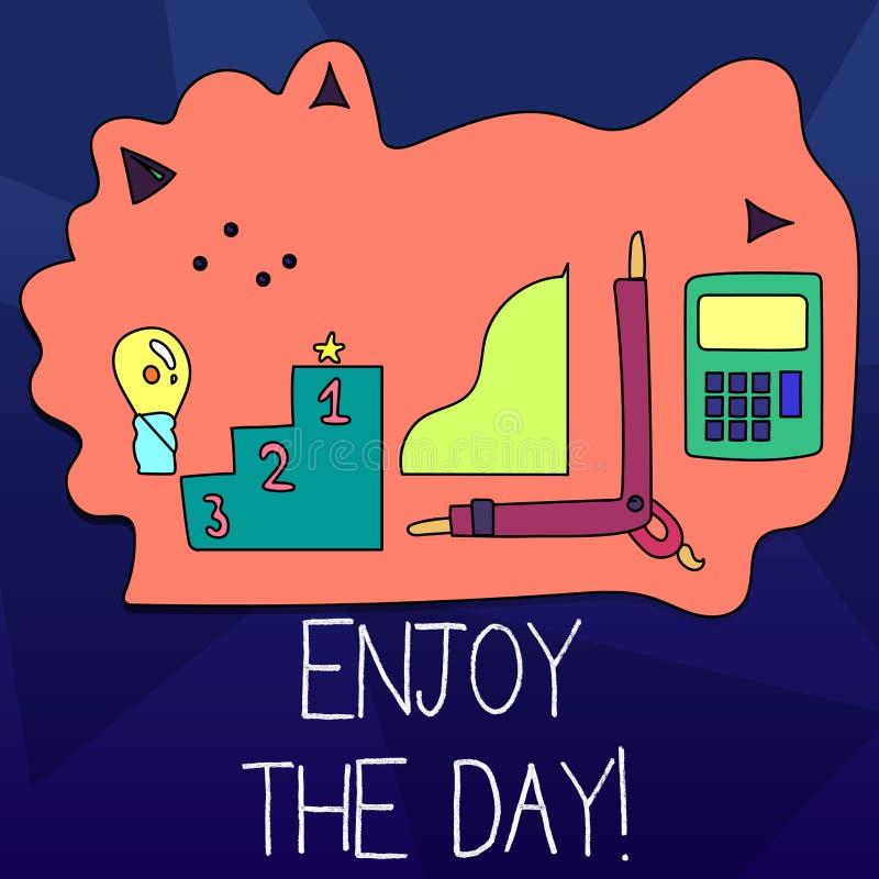 Текст сочинительства слова наслаждается днем Концепция дела на время счастливого образа жизни наслаждения ослабляя бесплатная иллюстрация