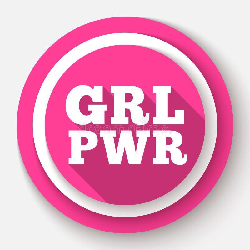 Текст GRL PWR Лозунг силы девушки для полномочия и независимости девушек Феминизм, движение прав женщин Розовое современное иллюстрация штока