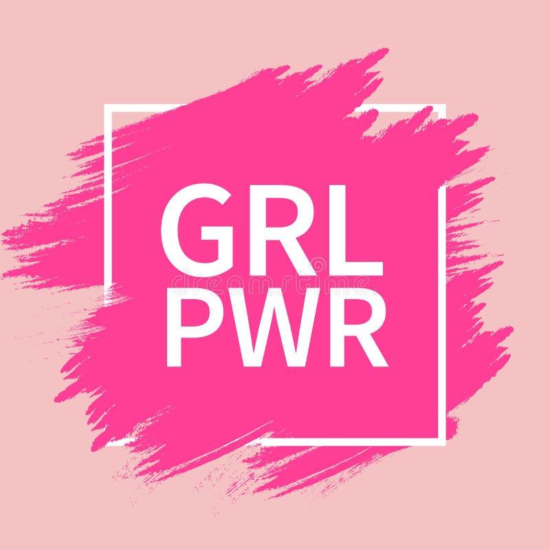Текст GRL PWR Лозунг силы девушки для полномочия и независимости девушек Феминизм, движение прав женщин Розовое современное бесплатная иллюстрация