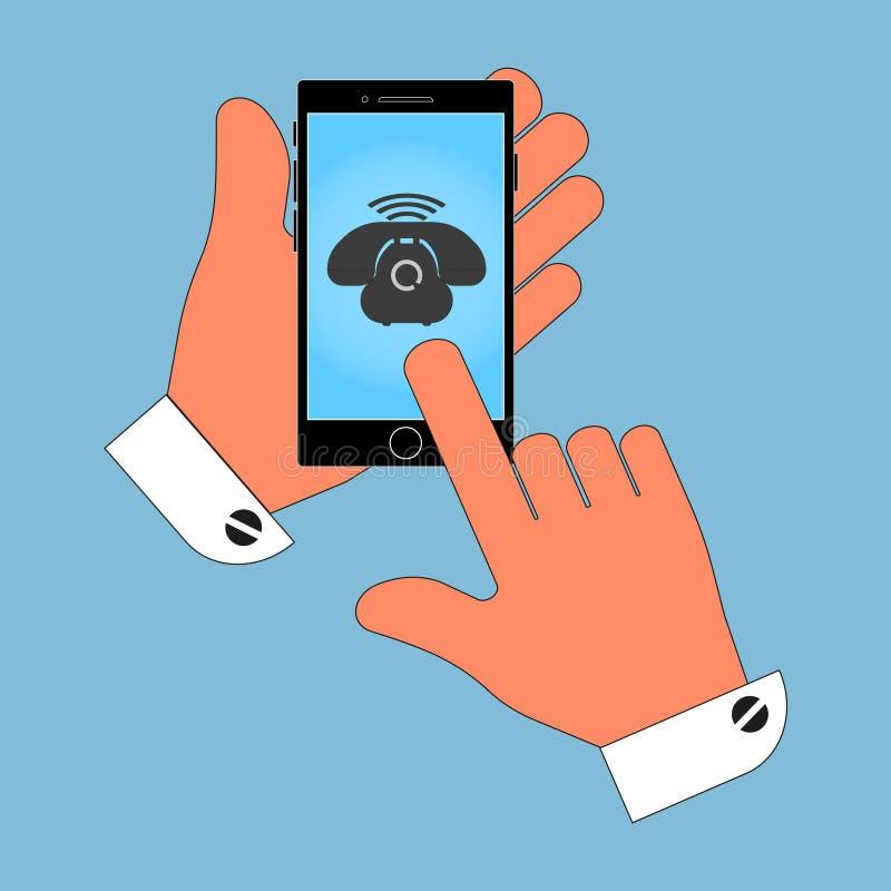 Телефон в его руке на экране телефона, изолят значка на голубой предпосылке иллюстрация вектора