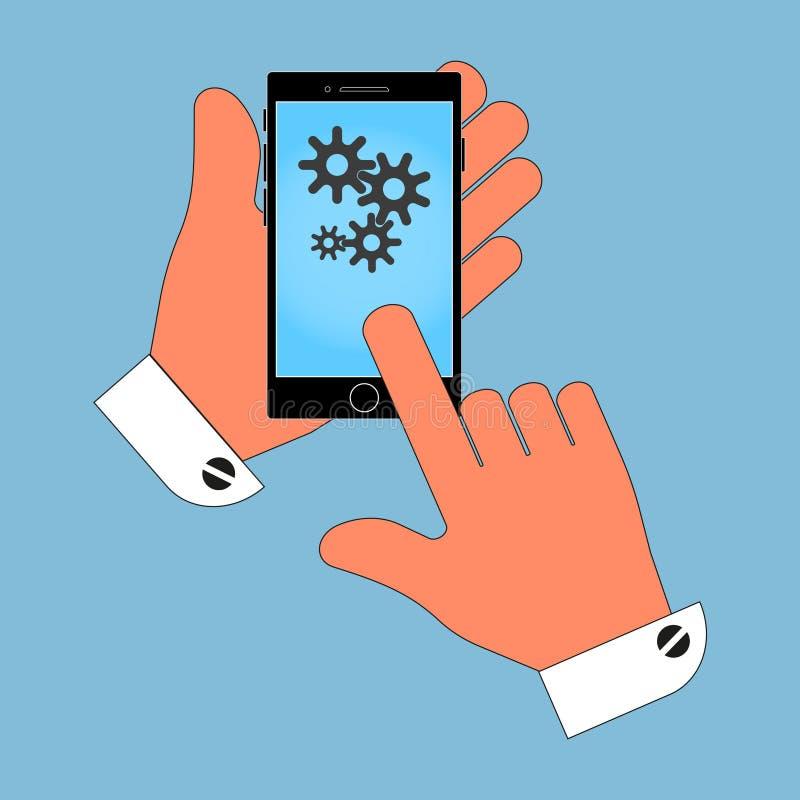 Телефон в руке с cogs на экране Изоляция на голубой предпосылке иллюстрация штока
