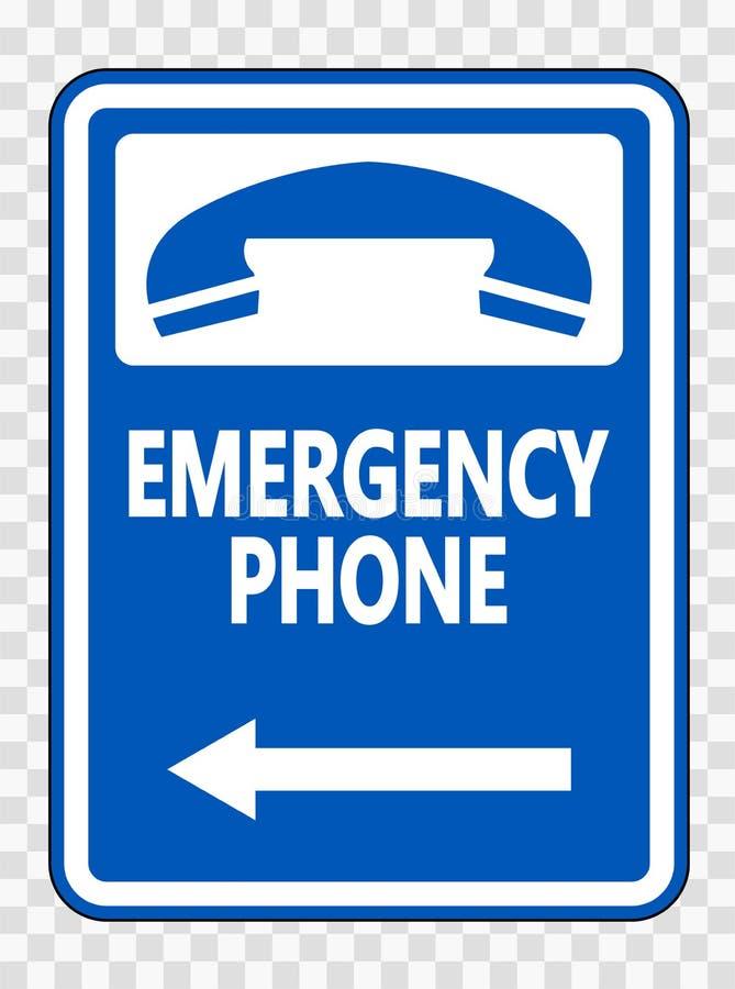 телефон ( символа аварийный; Левое Arrow) Знак на прозрачной предпосылке иллюстрация штока