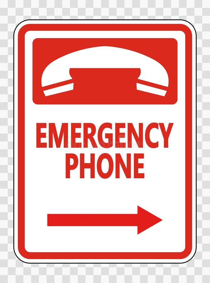 телефон ( символа аварийный; Право Arrow) Знак на прозрачной предпосылке иллюстрация вектора