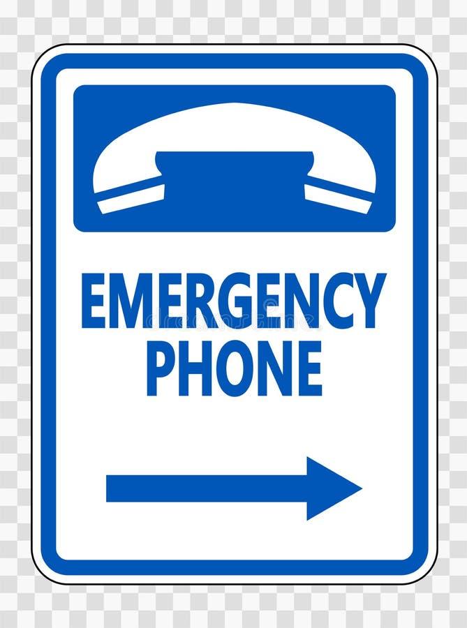 телефон ( символа аварийный; Право Arrow) Знак на прозрачной предпосылке иллюстрация штока