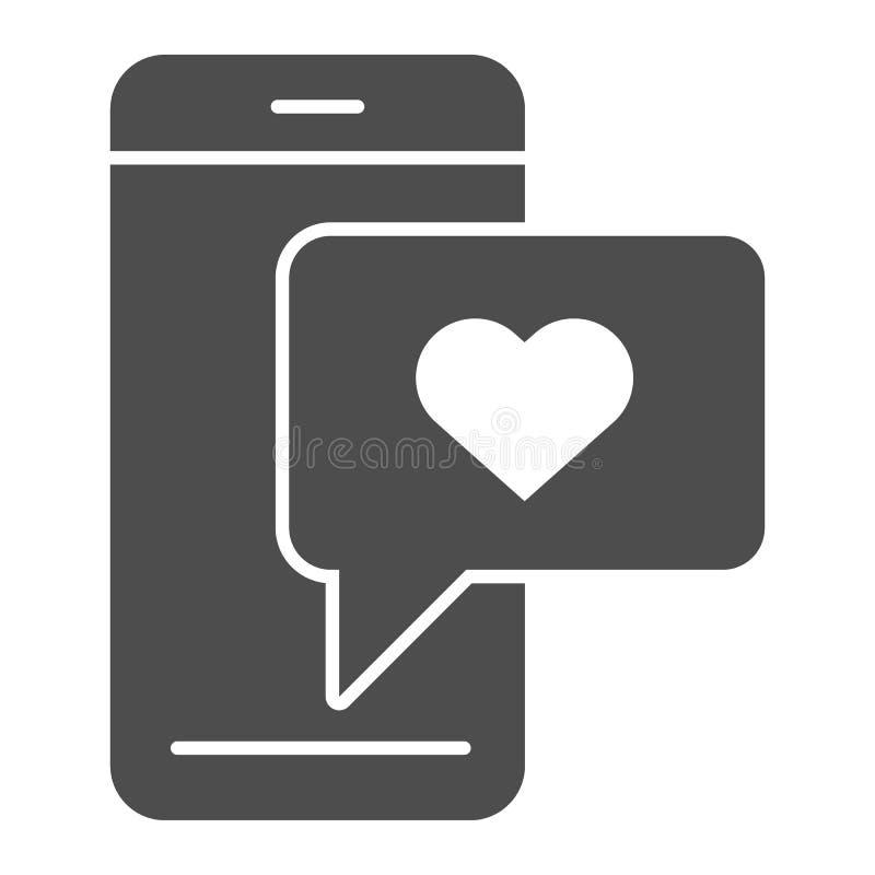 Телефон со значком сообщения любов твердым Романтичная иллюстрация вектора sms изолированная на белизне Дизайн стиля глифа болтов иллюстрация штока