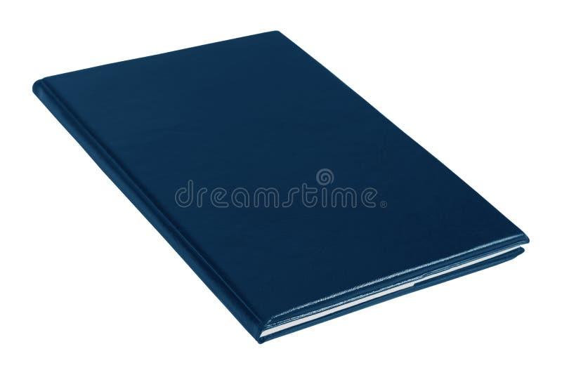 Тетрадь пробела темно-синая кожаная изолированная на белой предпосылке стоковая фотография