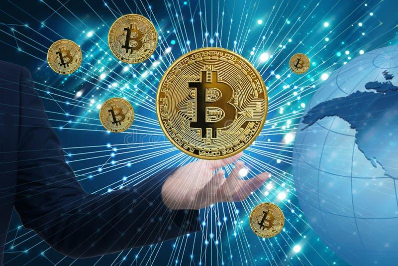 Технология валюты монетки BTC цифрового бита Bitcoin Cryptocurrency стоковое фото