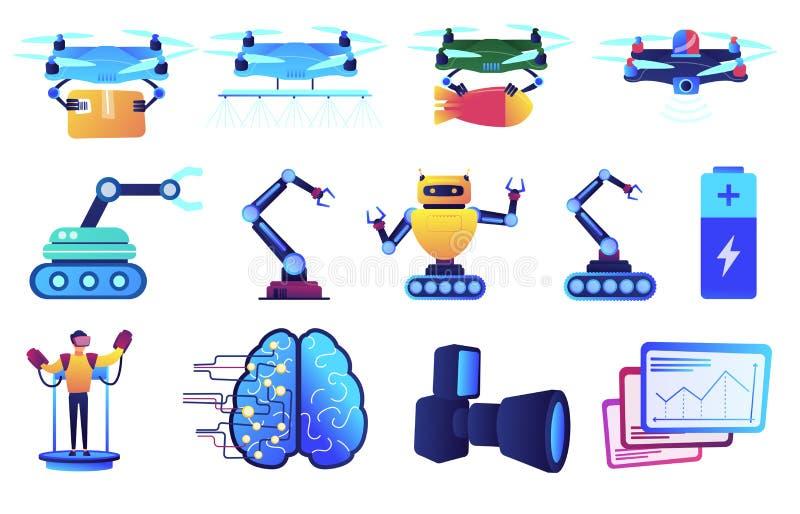 Технология робота и набор иллюстраций вектора обслуживания доставки трутня иллюстрация вектора