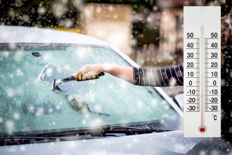 Термометр или метеорологический индикатор в зиме около температур шоу автомобиля низких стоковое фото rf