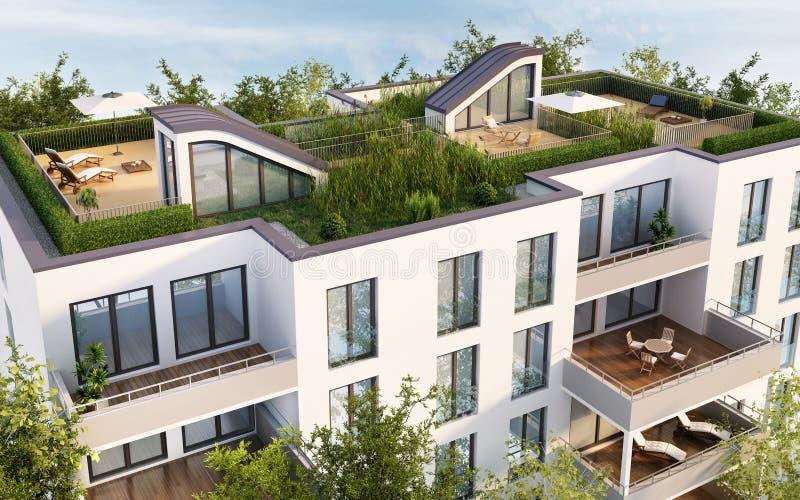 Терраса на крыше современного жилого дома иллюстрация вектора
