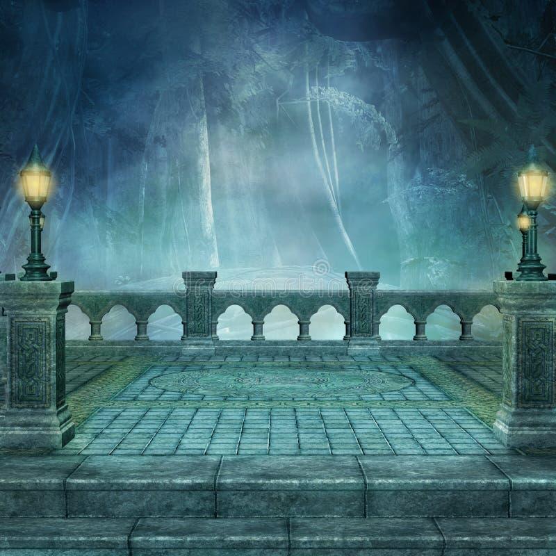 Терраса с видом темный лес вечером иллюстрация вектора