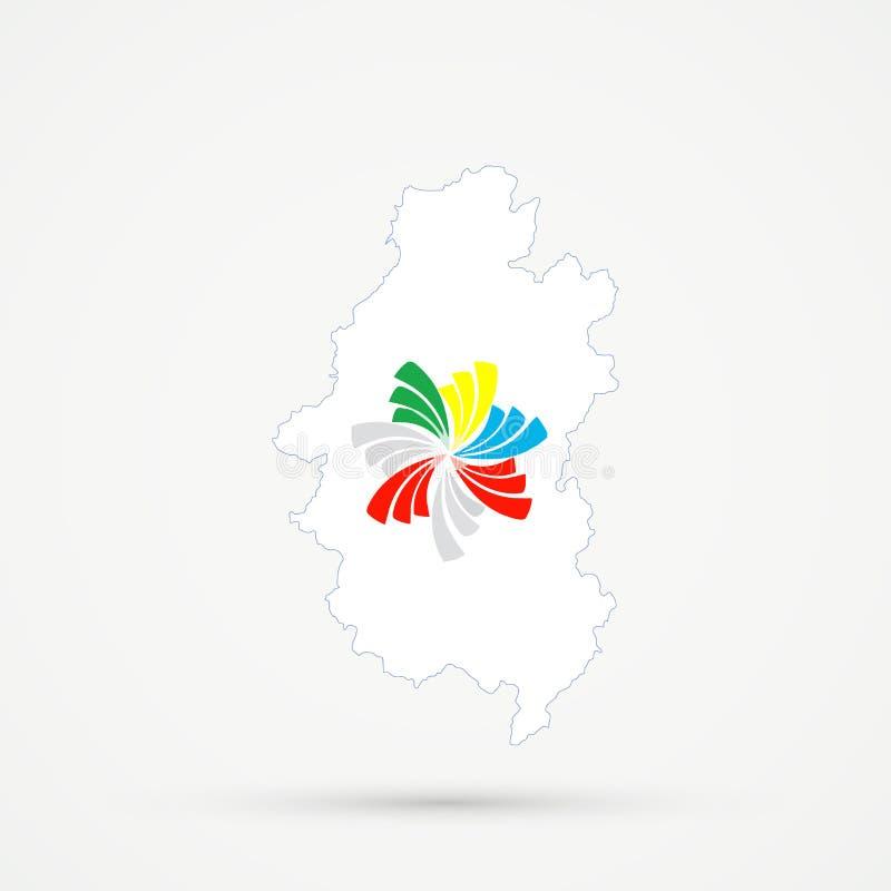 Территория гористое Shoria Shors этническая, карта в Тихих океан цветах флага союзничества, editable вектор России иллюстрация штока