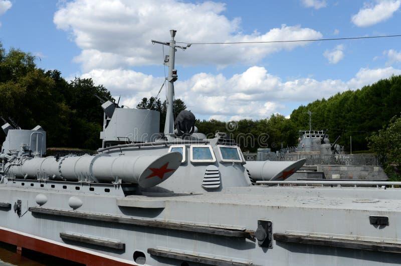 """Тип """"Komsomolets bis проекта 123 шлюпки торпедо на выставке советского военно-морского флота на холме Poklonnaya в Москве стоковое изображение rf"""