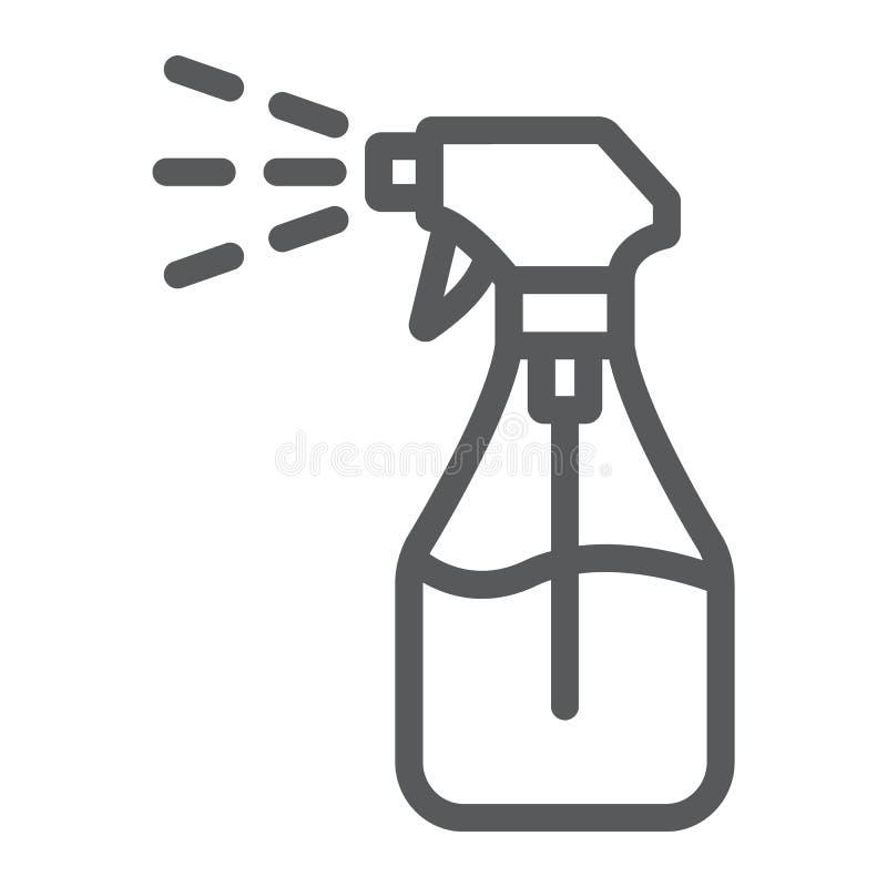 Туманная линия значок брызг, жидкость и жидкость, знак бутылки брызг, векторные графики, линейная картина на белой предпосылке иллюстрация вектора