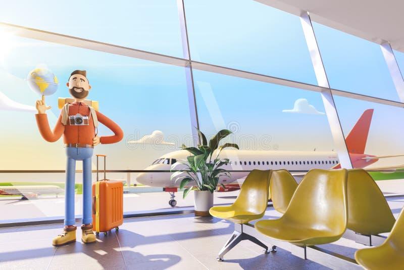 Турист персонажа из мультфильма держит весь свет на ладони в аэропорте иллюстрация 3d Концепция перемещения мира иллюстрация вектора