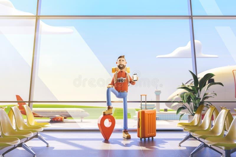 Турист персонажа из мультфильма стоит с большими указателем и телефоном карты в его руках в аэропорте иллюстрация 3d иллюстрация вектора
