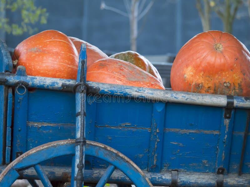 Тыквы в голубой старой фуре с деревянным колесом стоковое фото