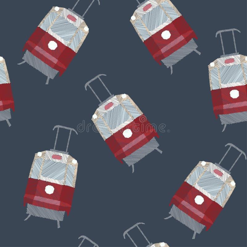 Трамвай, стежок сатинировки или вышивка стежком штофа, цифровое ремесло картина безшовная иллюстрация штока