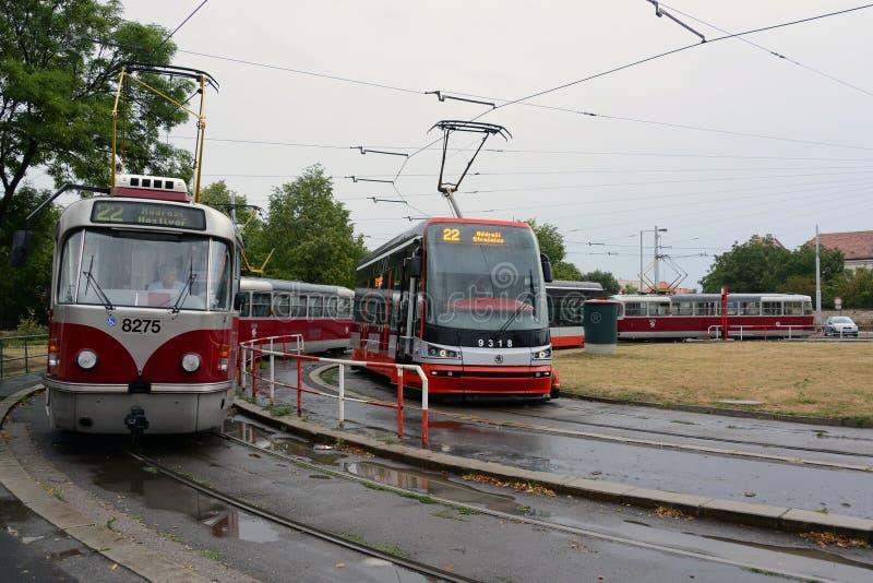 трамвай T3R Низко-пола Трамвай PLF и SKODA ForCity стоковые изображения
