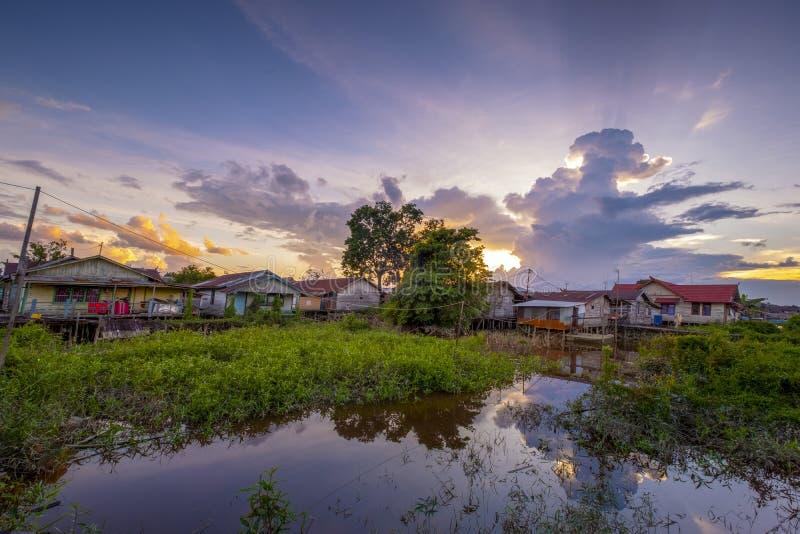 Традиционная деревня в Palangka Raya стоковое изображение rf
