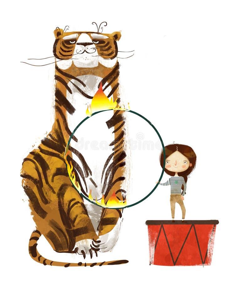 Тренер цирка с обручем тигра и огня бесплатная иллюстрация