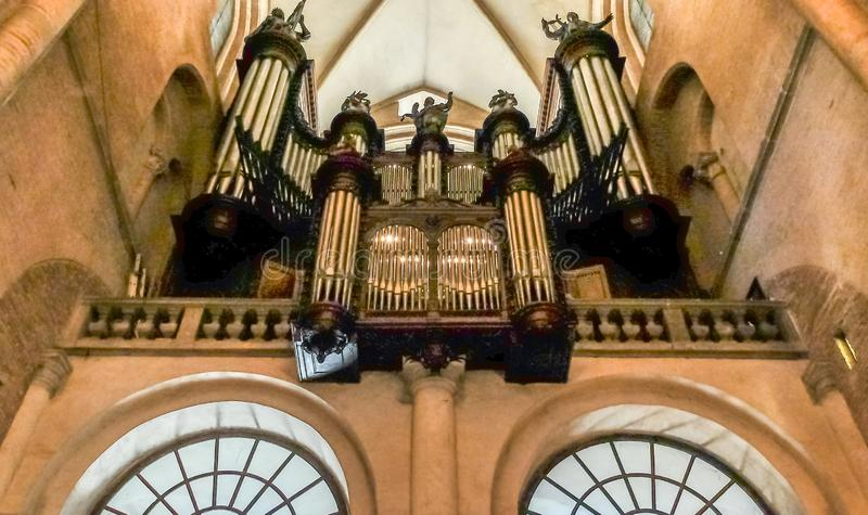 Трубы органа, базилика Святого Sernin, Тулуза, Франции стоковое фото rf