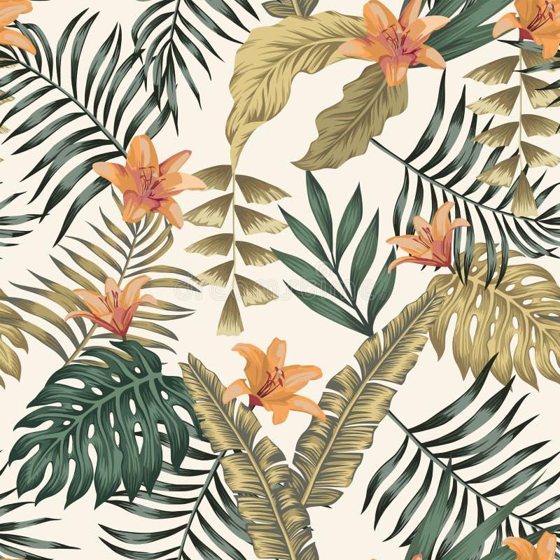 Тропические листья и цветки резюмируют предпосылку цветов безшовную белую иллюстрация штока