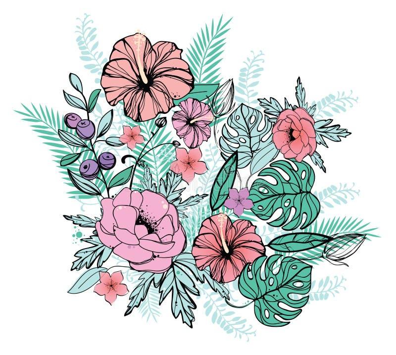 Тропические цветки гибискус, plumeria frangipani и ладонь, банан выходят состав Картина вектора экзотическая на белом backgroun иллюстрация штока