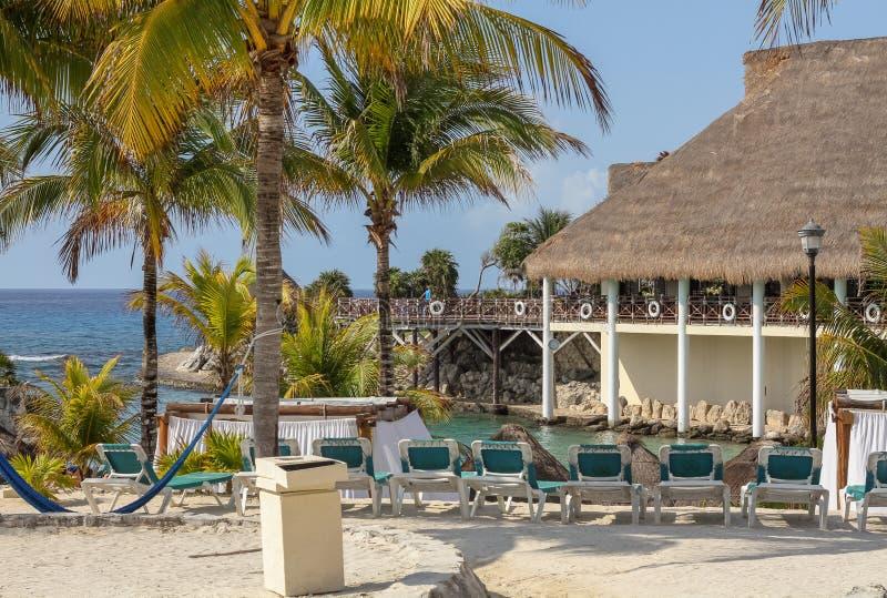 Тропический пляжный комплекс рая, Майя Riveria, Мексика стоковые изображения
