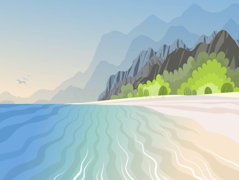 Тропический остров в океане с с высокими горами и лазурным пляжем бесплатная иллюстрация