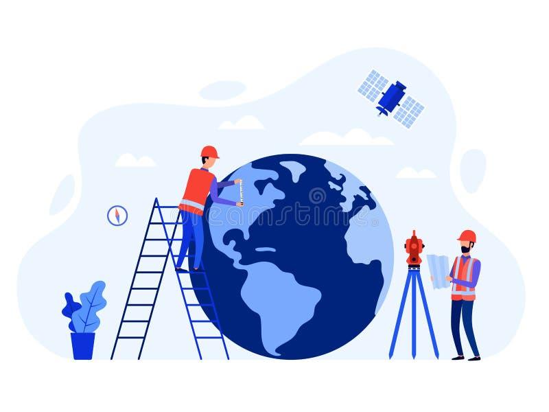 Топографы концепции, geodesists и инженеры используя полную станцию, теодолит земли, измеряя аппаратуры, спутник, глобус иллюстрация штока