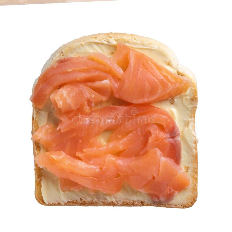 Тост с маслом и семгами на белой предпосылке стоковые фото