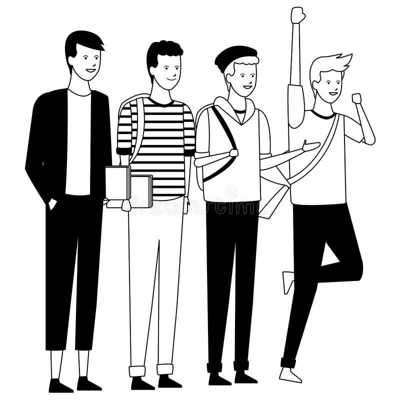 Торжество студентов парней бесплатная иллюстрация