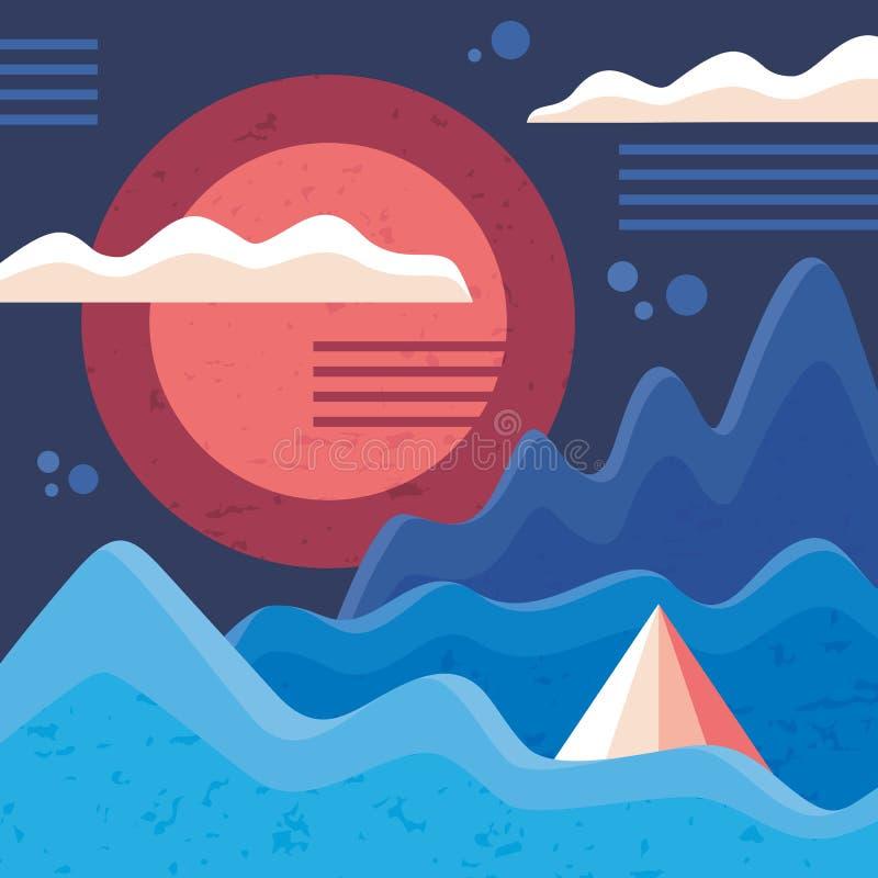 Фантастическая абстрактная предпосылка ландшафта в минимальном винтажном стиле иллюстрация вектора концепции Горы, солнце и облак иллюстрация штока