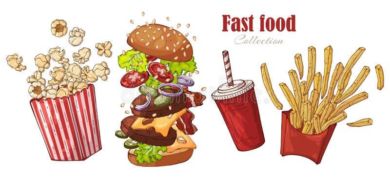 Фаст-фуд вектора: бургер, французский картофель фри, попкорн, напиток бесплатная иллюстрация