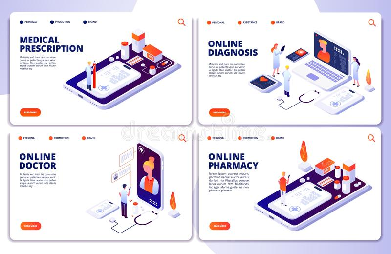 Фармация вектора онлайн, онлайн доктор, страницы посадки медицины сети иллюстрация штока