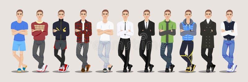 Фасонируйте набор характера парня также вектор иллюстрации притяжки corel бесплатная иллюстрация