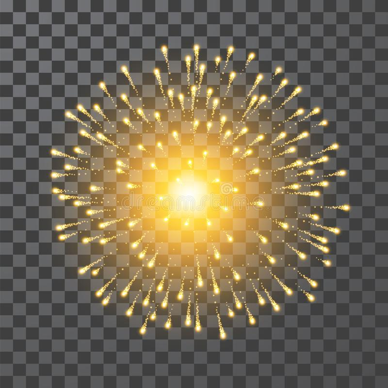 Фейерверки Фейерверк золота фестиваля Llustration вектора на прозрачной предпосылке бесплатная иллюстрация