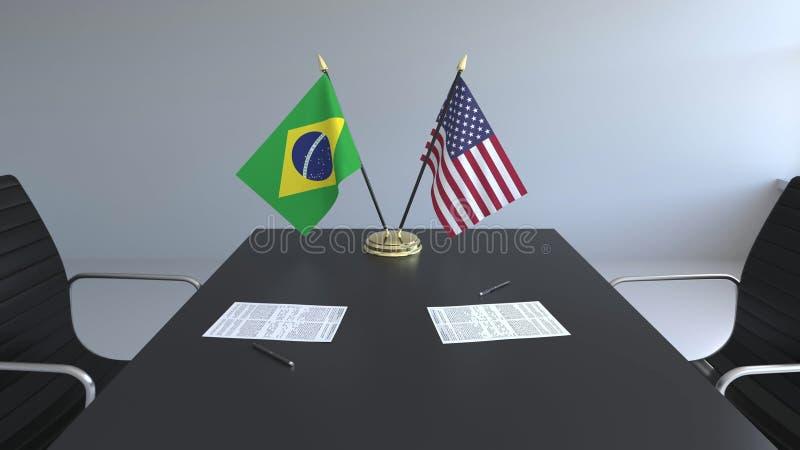 Флаги Бразилии и Соединенных Штатов и бумаги на таблице Переговоры и подписание международного соглашения иллюстрация вектора
