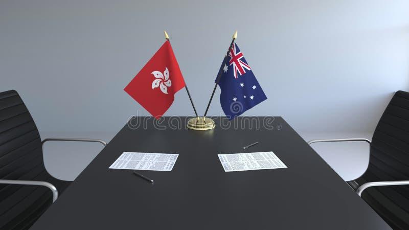 Флаги Гонконга и Австралии и бумаги на таблице Переговоры и подписание международного соглашения бесплатная иллюстрация