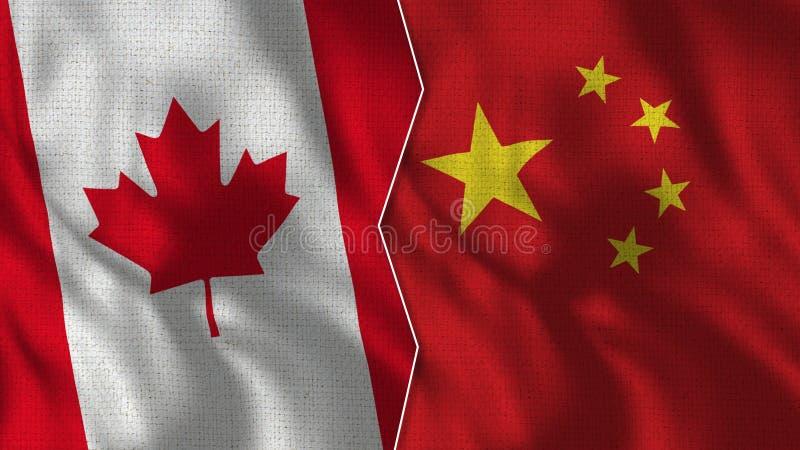 Флаги Канады и Китая половинные совместно стоковое изображение rf