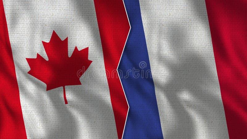 Флаги Канады и Франции половинные совместно стоковые изображения