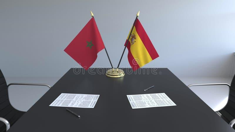 Флаги Марокко и Испании и бумаги на таблице Переговоры и подписание международного соглашения Схематическое 3D иллюстрация вектора