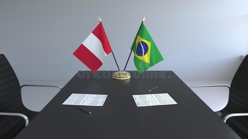 Флаги Перу и Бразилии и бумаги на таблице Переговоры и подписание международного соглашения Схематическое 3D иллюстрация вектора