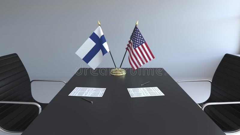 Флаги Финляндии и Соединенных Штатов и бумаги на таблице Переговоры и подписание международного соглашения иллюстрация штока